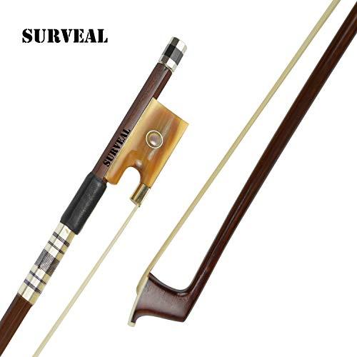 Surveal, archetto per violino in legno di pernambuco con la migliore coda di cavallo della Mongolia e il miglior elastico, misura 4/4 4/4 Marrone