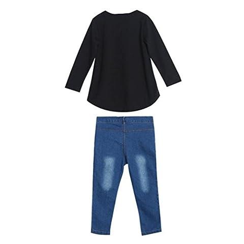 Manches Longues T-shirt Jeans ,LMMVP Manches Longues t-shirt Tops + Jeans Pantalons 1 Set Pour Tout-petits Bébé Filles