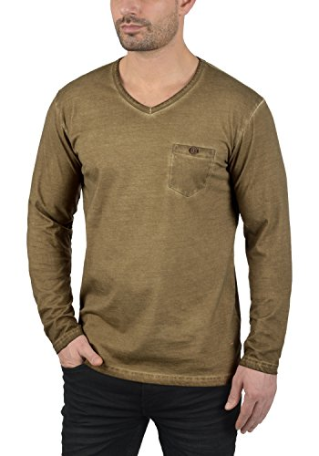 SOLID Terkel Herren Longsleeve V-Ausschnitt Langarmshirt aus 100% Baumwolle Ermine (5944)