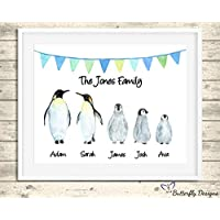 Personalised Penguin Family Watercolour Premium Print Picture A5, A4 & Framed Options - Design 2