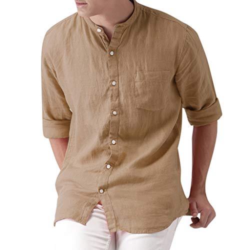 UINGKID Herren T-Shirt Kurzarm Slim fit Männer Sunmer Fashion Solid beiläufige Bequeme intelligente Hemd-Oberseiten-Blusen-Baumwolloberseiten -