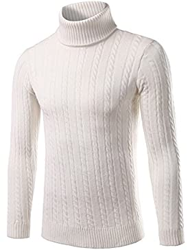 Hombre rollkragen Sudadera Color koreanischen Slim, blanco, medium