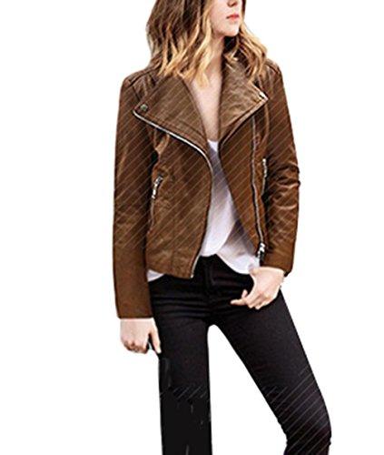ZFANG Outwear Lederjacke Mantel Faux PU Leder Slim Revers Reißverschluss Motorrad Biker Kurze Jacke OverCoat , brown , 3xl (Jacke Mantel Puffy)