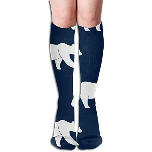 Women's Fancy Design Stocking Bear On Navy The Bear Creek Collection Multi Colorful Patterned Knee High Socks 50cm(19.6Inchs)
