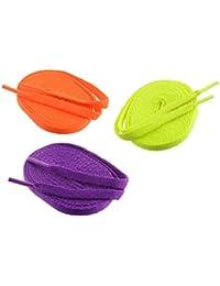 Flat Shoe Laces - 3 Pair Set (Orange Purple & Florescent Shoe Lace)