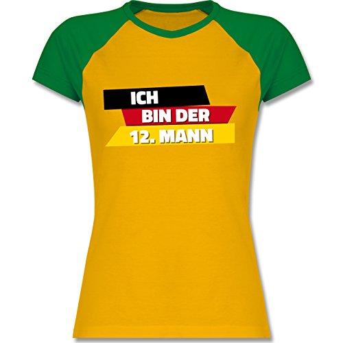 Shirtracer Fußball-WM 2018 - Russland - Ich Bin der 12. Mann Deutschland - Zweifarbiges Baseballshirt/Raglan T-Shirt für Damen Gelb/Grün