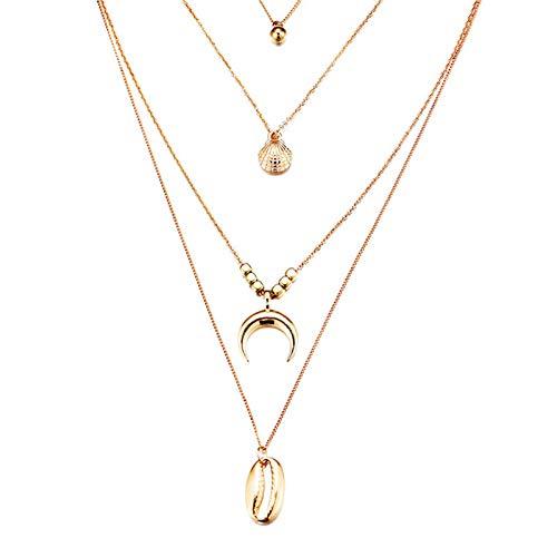 JFHGNJ Mode Multi Layered Choker Halskette Kragen Aussage Muschelhörner Jakobsmuschel Anhänger Halskette Frauen Schmuck Kragen Hombre-Gold