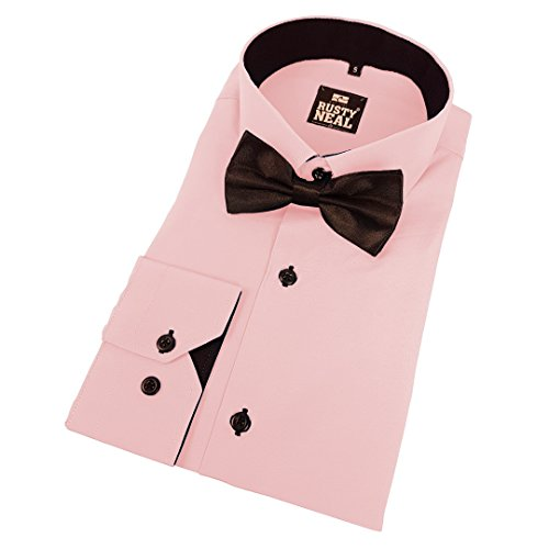 44--Bow-Tie-Shirt-Business-Shirt-Bow-Tie-Suit-Wedding-Casual-Oversize-Fit-pink-3XL