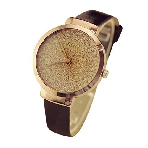 Preisvergleich Produktbild Uhr Damen Uhren DAY.LIN Frau Mädchen Luxus Sand Sternenklar einfache Temperament Quarzuhr (Schwarz)