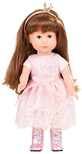 Götz 1713029 Just like me – Prinzessin Chloe Puppe – 27 cm große Stehpuppe mit extra langen braunen Haaren, blauen Schlafaugen in einem 5-teiligen Set