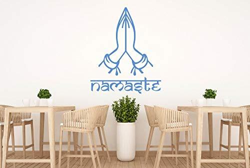 zhuziji Namaste Wall Decal Buddha Indian God Greeting Pose Wall Stickers Hidu Meditation Yoga Studio Interior Removable Decor DIY 90x74cm (Left Coast City)