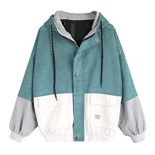 Frauen Cord Mantel Hoodies Langarm Patchwork Mode Umstandsmode Damen Oversize Outwear Jacke Windbreaker Farbe College Stil Mädchen Blockieren Mantel Coat Young Fashion (Color : Hellblau, Size : M) Cord-mantel