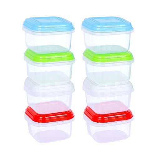 ARSUK Repas de Bébé Boîtes de Conservation, BPA en plastique Alimentation réutilisable récipient hermétique Boîtes avec couvercle empilable au micro-ondes congélateur au lave-vaisselle (8 pièces)