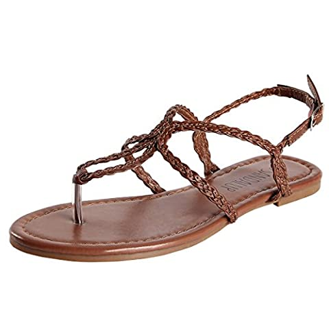 Thong Braided Strap, Women's Sandals SANDALUP Brown Size 06