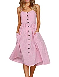 LIKELYY Women Summer Sexy Buttons Solid Off Shoulder Sleeveless Dress Princess Dress