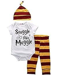 SAMGU Ensemble de Clothing pour Baby Nouveau-né Bébés Garçons Body + Stripe Pantalons + vêtements Hat Outfits