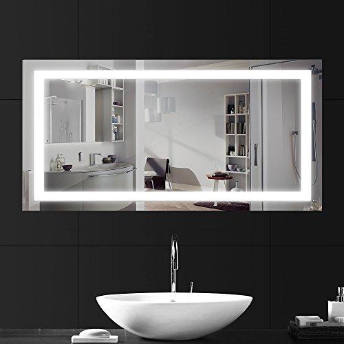 Lebright 23w 100 x 60cm specchio luce led con illuminazione interruttore per il bagno camera da letto, ingresso ac 230v,lucido argento a parete con luce a specchio con pulsante a tendina (6000k - bianco freddo)