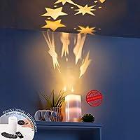 Star-Dusche-Projektor | Starlight drehender Projektor | Echtes Wachs Flammenlose LED Kerzenlicht | LED Kerzenlicht mit Bildprojektion | 5 auswechselbare Dias mit 20 Bildern | Fernsteuerkerzen