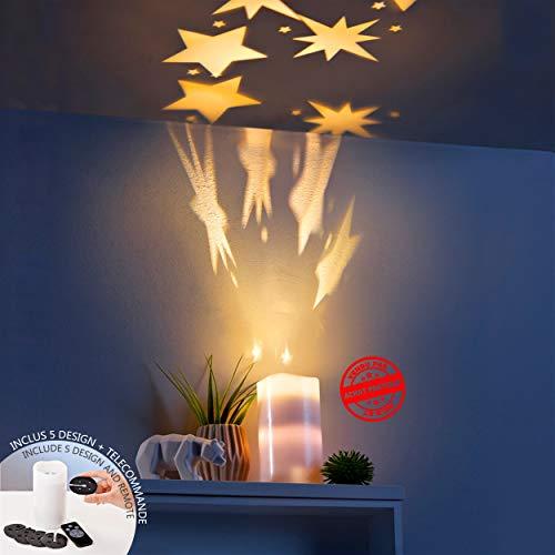 Preisvergleich Produktbild Star-Dusche-Projektor / Starlight drehender Projektor / Echtes Wachs Flammenlose LED Kerzenlicht / LED Kerzenlicht mit Bildprojektion / 5 auswechselbare Dias mit 20 Bildern / Fernsteuerkerzen