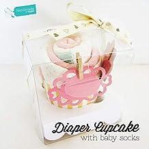 Caja con Cupcake hecho con calcetines y pañal DODOT | Regalo para recién nacidos | Baby