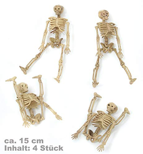 FASCHING 54489 Deko Halloween 4 Skelette 15cm NEU/OVP (Skelett Für Halloween)
