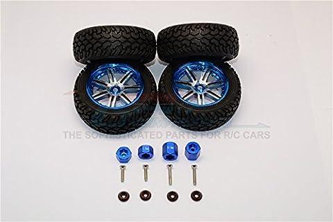 Axial Yeti Jr. SCORE Trophy Truck (AX90052) Tuning Teile Aluminium Front & Rear Hex Adapters + Wheels & Tires - 16Pcs Set Blue