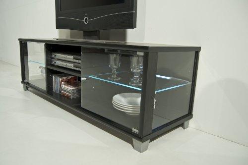 TV-BANK / Fernseh-Schrank / Sideboard in Escheoptik schwarz inkl. LED-Beleuchtung weiß – B 140 cm - 3