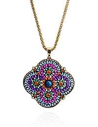 Lureme® joyería ocasional flor colgante cadena de tono de oro con el collar de cristal de las niñas y las mujeres (01001951 monoparentales) (Violeta)