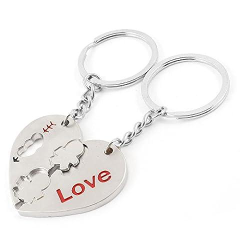Liebe Muster Herz Pendent Keys Anhänger Ring Schlüsselanhänger Paar für Liebhaber