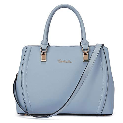 Echt-leder-handtasche Tote Bag (BOSTANTEN Damen Leder Handtasche Schultertasche Umhängetasche Elegante Henkeltasche Tote Bag Blau)