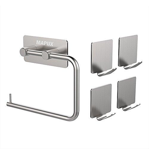 Preisvergleich Produktbild Toilettenpapierhalter Ohne Bohren MAPUX Küchenrollenhalter Papierrollenhalter Stehend WC Rollenhalter mit 4 Stück Haken aus Matt Gebürstetem Edelstahl