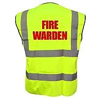 Fire Warden Yellow High Visibility Hi Vis Viz Vest Safety Waistcoat, Printed By Brook Hi Vis Medium