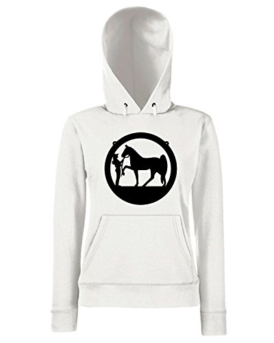 T-Shirtshock - Sweats a capuche Femme FUN1075 cowgirl and horse 3 99990 Blanc
