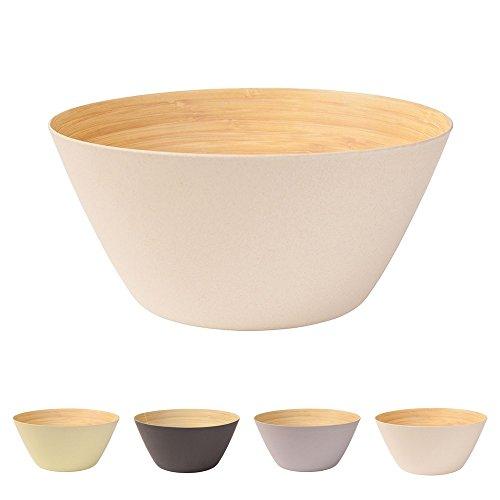 BIOZOYG Premium Bambusschale elfenbein rund 25,5 cm | Bambus Geschirr Schüssel Müslischale Obstschale Holzschale Salatschüssel Dekoschale Suppenschale Servierschüssel Salatschale