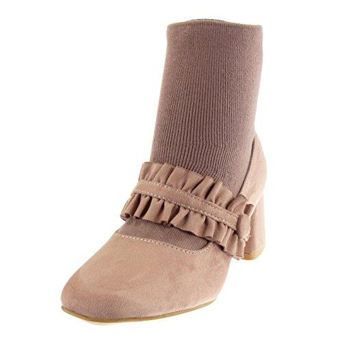 Angkorly - Scarpe Da Donna Ankle Pumps - Bi-material - Chic - Bow - Tacco A Spillo Intrecciato 6 Cm Rosa