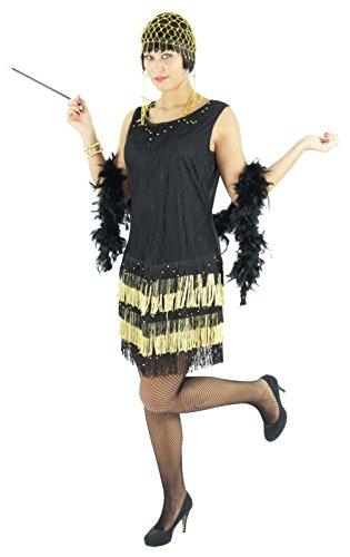 Foxxeo 40062 | 20er Jahre Damen Kleid Charleston Kostüm, schwarz-gold, Größe:L