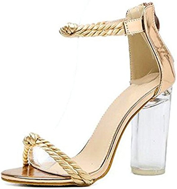 Zapatos de Mujer de Cuero Sandalias de Confort de Verano Zapatos de Tacón Plano Peep Toe Hebilla para Mamá 41 EU|Marrón