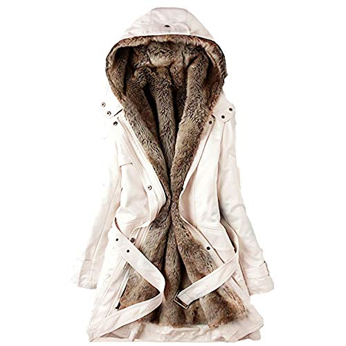 emp corsage BHYDRY Damen Pelz Futter Mantel Damen Winter Warme Dicke Lange Jacke Mit Kapuze Parka(EU-46/CN-XL,Beige)