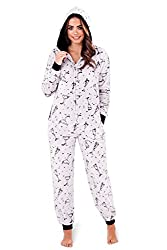 Womens Onesies Full Length Fleece Onesie Hooded All In One Jumpsuit Bathrobe Girls Ladies Xsmall-large from Continental Textiles