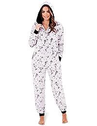 LD Outlet Womens Fairisle Onesie Full Length Fleece Onesies Hooded All in One Jumpsuit Bathrobe Pyjamas Girls Ladies