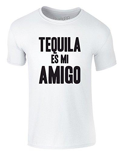 Brand88 - Tequila es mi Amigo, Erwachsene Gedrucktes T-Shirt Weiß/Schwarz
