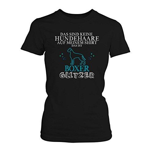 Boxer Geschenke (Fashionalarm Damen T-Shirt - Das sind keine Hundehaare - Boxer Glitzer | Fun Shirt mit Spruch lustige Geschenk Idee Rasse Hunde Besitzer Frauchen, Farbe:schwarz;Größe:L)