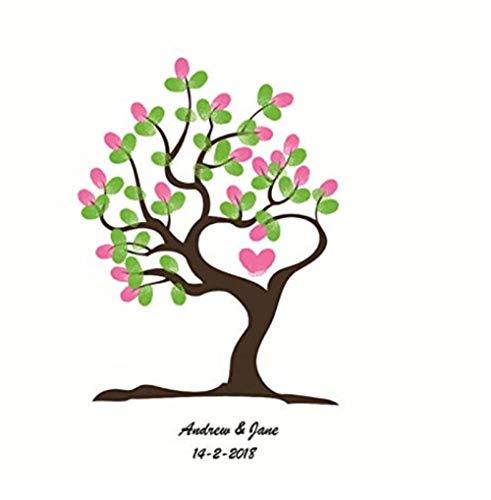 Yqgdss DIY Hochzeitsveranstaltung Geburtstag Liebe Baum Fingerabdruck Anwesenheit Zeichnen Leinwand Dekorative Malerei Tapete Gast Unterschrift Anmelden Bücher Souvenir 30X40 cm