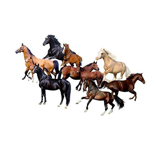 MagiDeal PVC 3D Wandaufkleber Wandsticker Wandtattoo Wanddeko wasserdicht Dekoration für Schlafzimmer Kinderzimmer Whonzimmer (70 x 50cm) - Pferd (Pferd Fliese Wandbild)