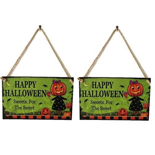 SEY TOYS Indoor-Und Outdoor-Holz Halloween-Kürbis-Mann-Muster, Hölzerne Schildwand, Tür-Ornament, Familie, Büro-Party-Dekorationen, Happy Halloween Holz Zeichen