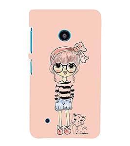 For Nokia Lumia 530 :: Nokia Lumia 530 RM 1017 :: Nokia Lumia 530 Dual SIM :: Nokia Lumia 530 Dual SIM RM 1019 girl with cat ( girl with cat, cat, girl, cute girl, beige background, nice girl ) Printed Designer Back Case Cover By FashionCops