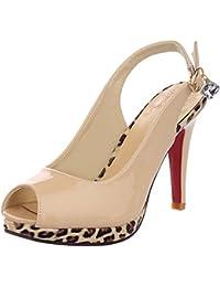a92166af21689 TAOFFEN Femmes Mode Sandales Décolletés Bout Ouverts Chaussures à Talon  Haut ...