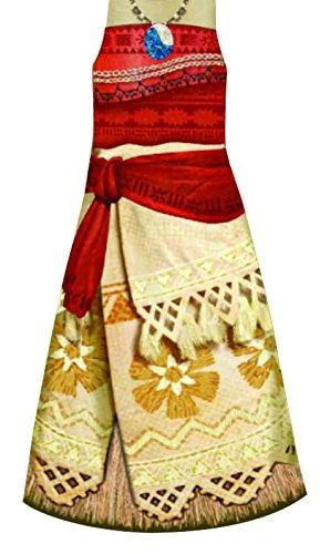 Preisvergleich Produktbild Kostüm Vaiana Classic Mädchen Kleid Schärpe Südsee Prinzessin Disney Film Kinder (L)