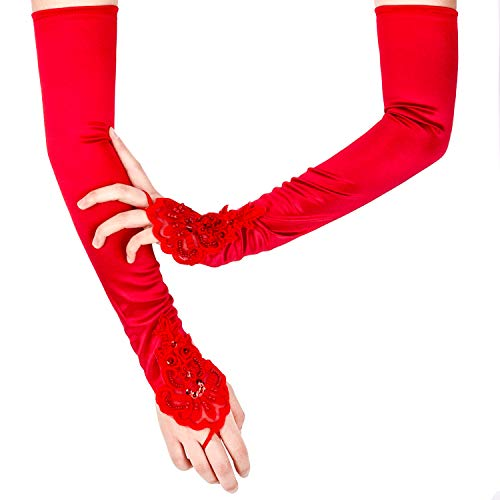 SAVITA Abendhandschuhe Weiß Satin Handschuhe Lang Opernhandschuhe Tanzhandschuhe 1920 Handschuhe für Frauen Mädchen (Fingerlose Rot) (Rote Lange Handschuhe Fingerlose)