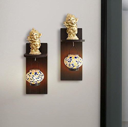 Tied Ribbons Wall Hanging Murli Ganesha on Wall Shelf with Tealight Hanger